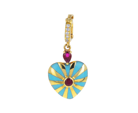 Joanna Dahdah Turquoise Enamel, Diamond and Ruby Heart Charm ONLY