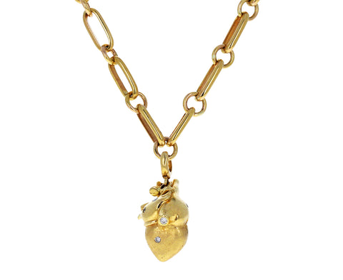 Luis Morais Gold and Diamond Anatomical Heart Charm ONLY