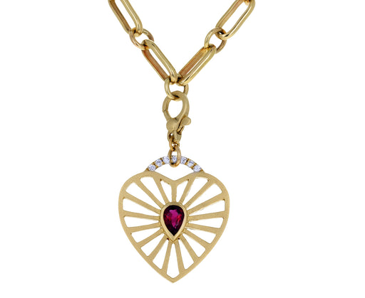 Michelle Fantaci Ruby and Diamond Heart Charm ONLY