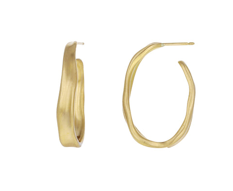 Gold Oval Baby Malak Hoop Earrings