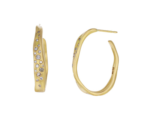 Oval Champagne Diamond Baby Malak Hoop Earrings