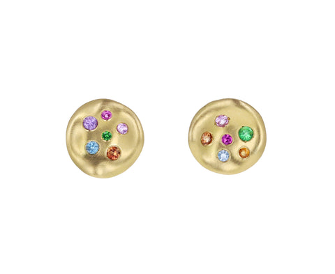 Rainbow Sapphire Baby Malak Mini Round Earrings