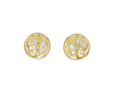 Mini Round Diamond Baby Malak Stud Earrings