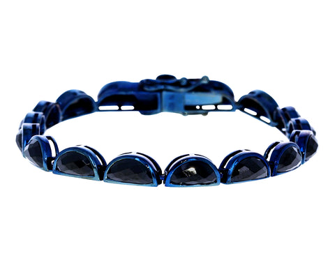Black Spinel Scallop Tennis Bracelet - TWISTonline