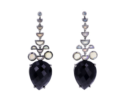 Black Spinel and Opal Headdress Earrings