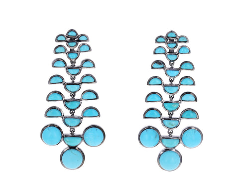 Turquoise Reptile Girandole Earrings