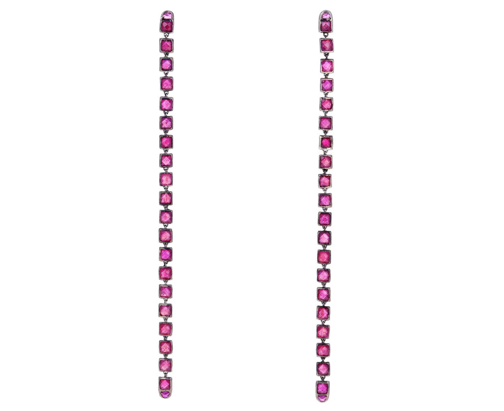 Party Length Ruby Line Earrings