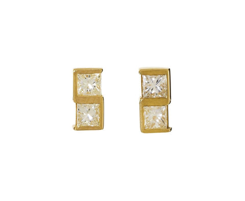 Princess Cut Diamond Post Earrings - TWISTonline