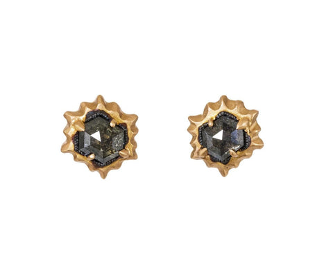 Hexagonal Black Diamond Post Earrings - TWISTonline