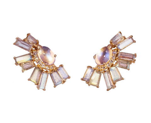 Moonstone and Labradorite Ear Jackets - TWISTonline