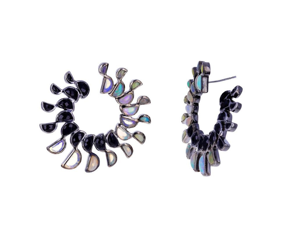 Black Spinel and Ethiopian Opal Mezzalunna Bypass Earrings