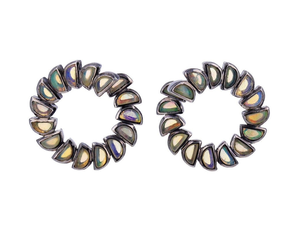 Ethiopian Opal Marabou Bypass Hoop Earrings