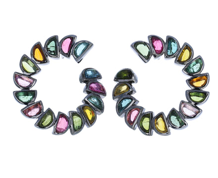 Tourmaline Marabou Bypass Hoop Earrings - TWISTonline