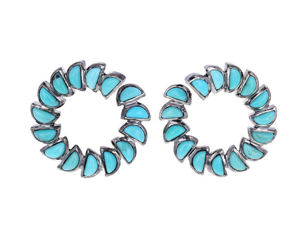 Turquoise Marabou Bypass Hoop Earrings