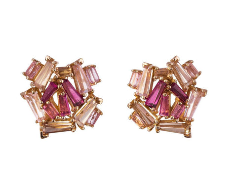 Rubelite, Peach Moonstone and Brown Zircon Earrings - TWISTonline
