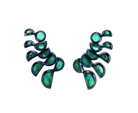 Green Onyx Lobster Stud Earrings