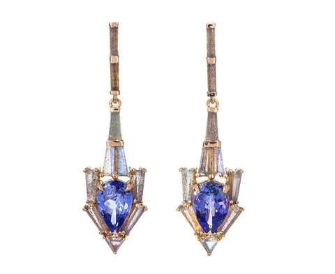 Tanzanite and Labradorite Anchor Earrings - TWISTonline