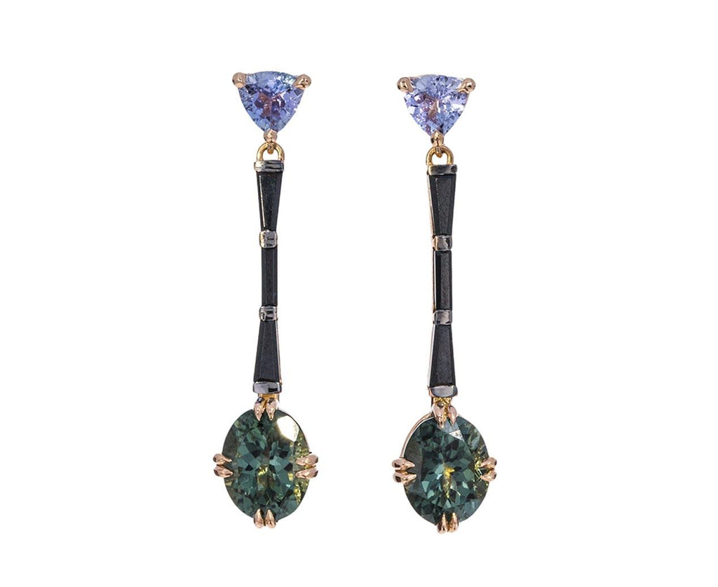 Green Tourmaline and Black Spinel Arrow Earrings - TWISTonline