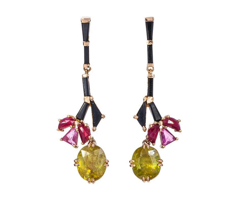 Tourmaline Spinel and Sphene Kyoto Earrings zoom 1_nak_armstrong_gold_spinel_ruby_rubelite_kyoto_ea