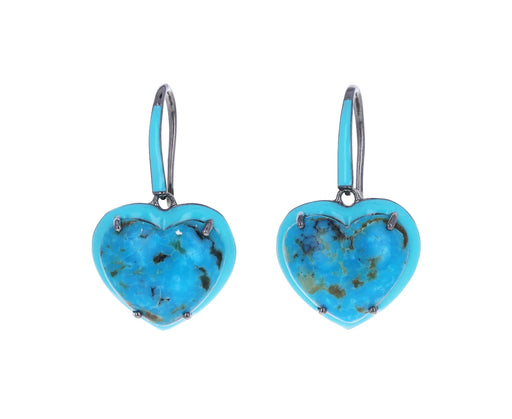 Turquoise Enameled Heart Earrings