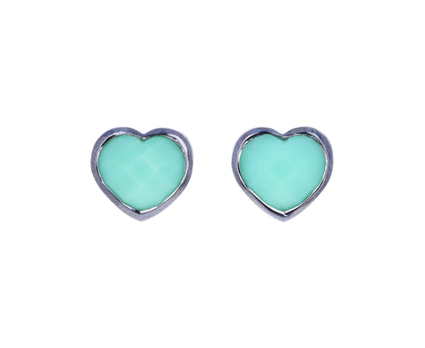 Small Chrysoprase Heart Studs