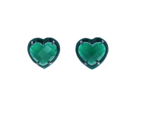 Small Green Onyx Heart Stud Earrings