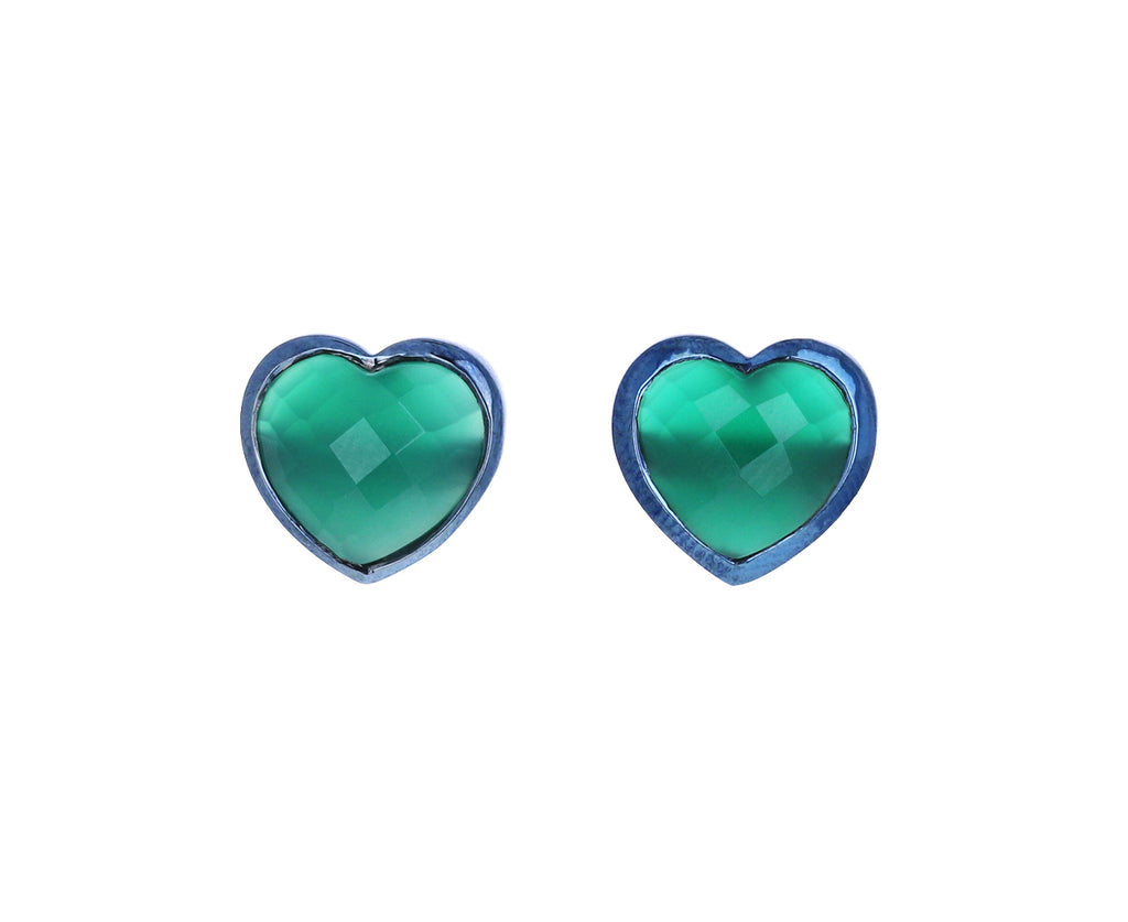 Green Onyx Small Heart Studs