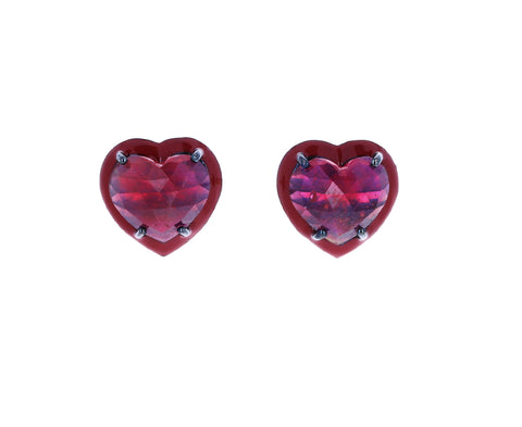 Small Small Ruby Heart Stud Earrings