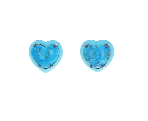 Small Turquoise Heart Stud Earrings