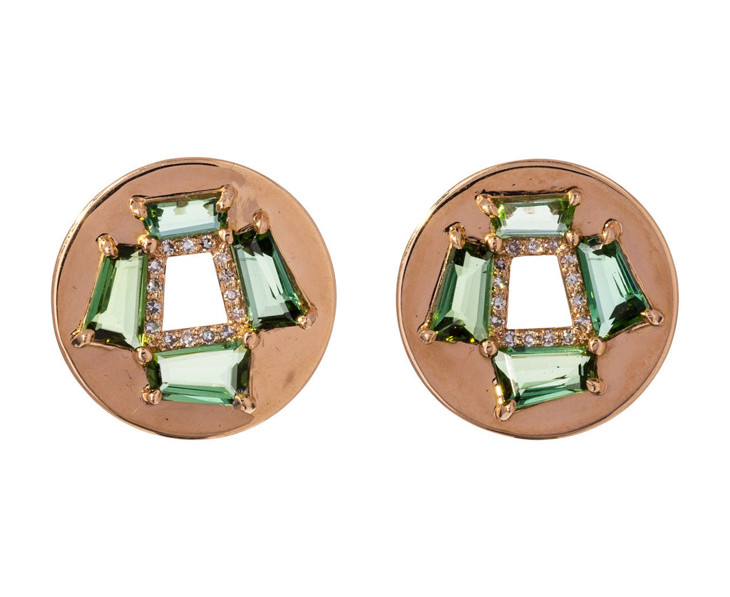 Diamond Tourmaline Fenestra Earrings