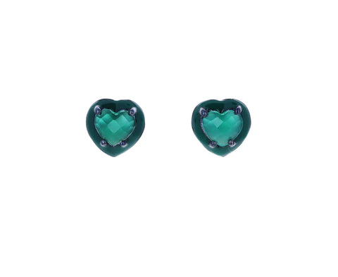 Mini Green Onyx Heart Stud Earrings