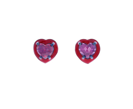 Mini Heart Ruby Enameled Studs