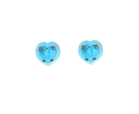 Mini Turquoise Heart Stud Earrings