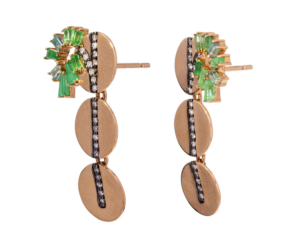 Emerald Diamond and Tourmaline Minibu Earrings - TWISTonline