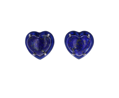 Small Lapis Heart Stud Earrings