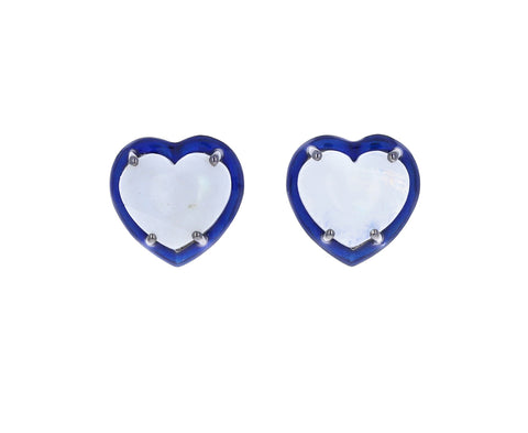 Small Moonstone Enamel Heart Studs