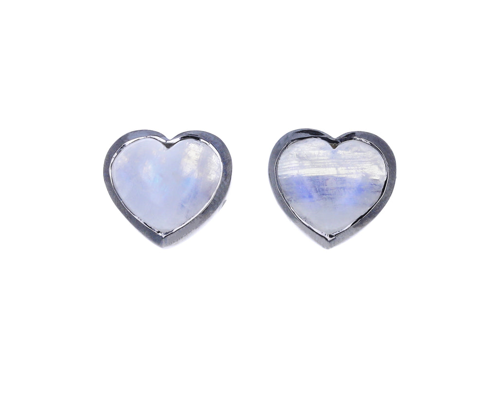 Small Moonstone Small Heart Studs