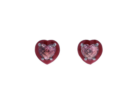 Mini Pink Tourmaline Heart Stud Earrings