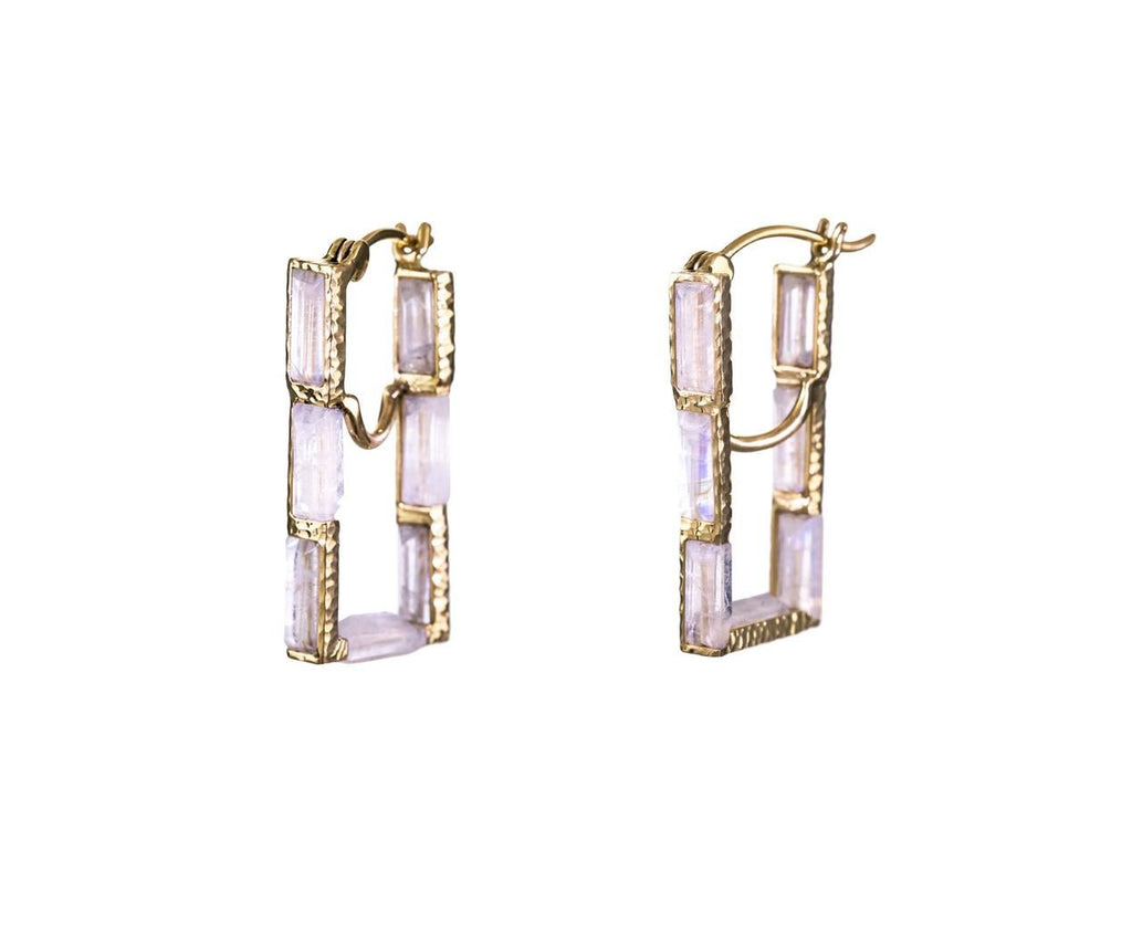 Rainbow Moonstone Rectangular Hoop Earirngs - TWISTonline