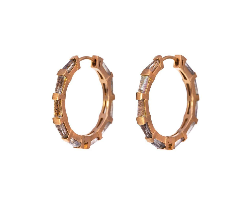 Labradorite Hilvanado Stitch Hoop Earrings - TWISTonline