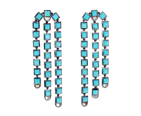 Turquoise and Ethiopian Opal Sweep Earrings
