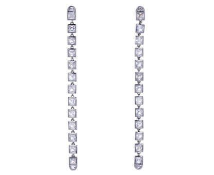 White Zircon Line Earrings
