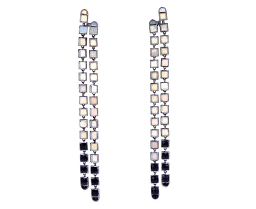 Opal and Spinel Double Line Earrings