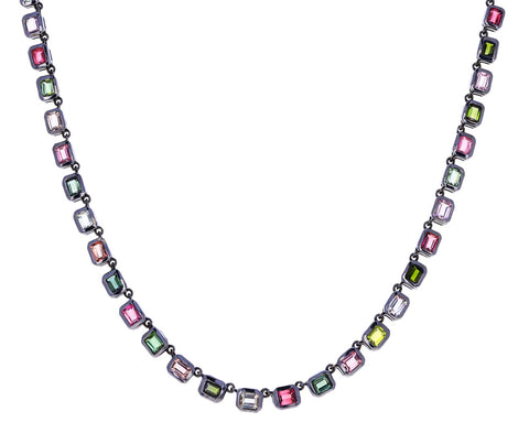 Multi Tourmaline Riviere Deco Chain Necklace