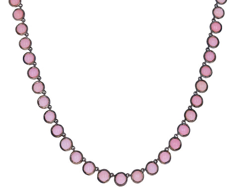 Cabochon Pink Opal Riviere Necklace
