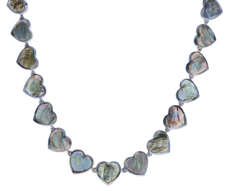 Labradorite Heart Riviere Necklace
