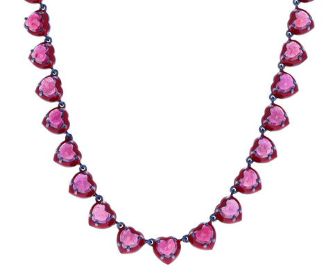 Ruby Heart Enameled Riviere Necklace