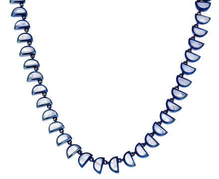 Rainbow Moonstone Riviere Worm Necklace