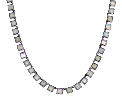 Small Ethiopian Opal Riviere Tile Necklace
