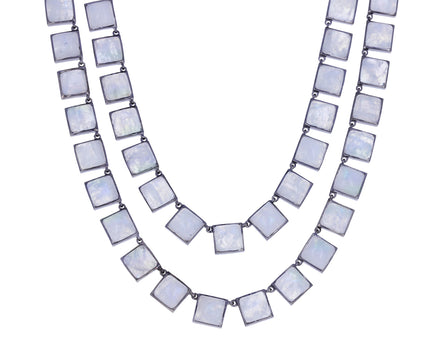 Rainbow Moonstone Opera Tile Necklace